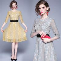 【M2M】典雅復古時尚撞色圓領蕾絲緹花洋裝S-2XL(共二色)