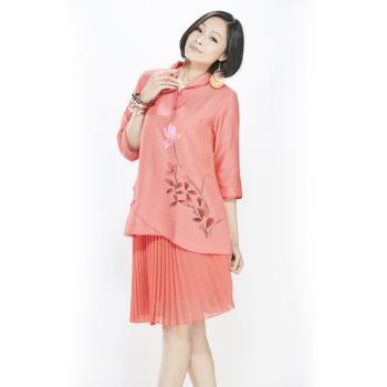 蘭陵手繪絲質感顯瘦中袖上衣2入 F03-02