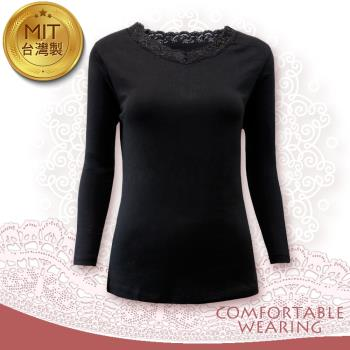 【COMFORTABLE WEARING】MIT-蓄熱保暖衣-蕾絲-黑