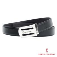 【ROBERTA 諾貝達】義大利牛皮-精選紳士皮帶-8-黑色荔枝紋