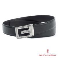 【ROBERTA 諾貝達】義大利牛皮-精選紳士皮帶-1-黑色荔枝紋