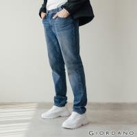 GIORDANO  男裝Old School刷色直筒牛仔褲 - 72 中藍