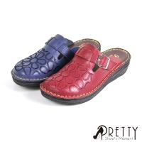 Pretty 沾黏式刺繡花紋縫線小坡跟前包後空鞋BA-21038