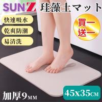 SUNZ-好評熱銷-加厚瞬吸速乾硅藻土地墊/防潮墊/瀝水墊-45x35公分(買一送一)