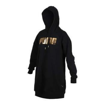 PUMA 女基本系列HOLIDAY長袖連帽連身T恤-帽T 刷毛 長版上衣
