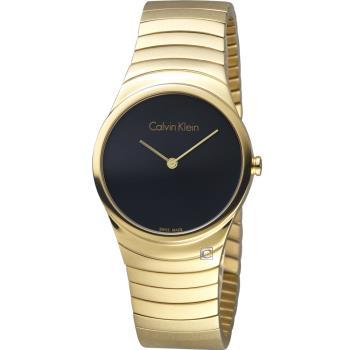 Calvin Klein 極簡石英錶(K8A23541)黑x金/33mm