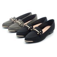 【 cher美鞋】MIT金飾小尖頭舒適通勤美鞋-黑色/灰色 35-40碼-0890511610-18