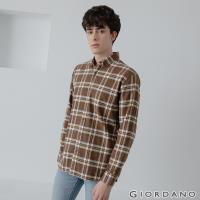 GIORDANO  男裝法蘭絨溫暖磨毛長袖襯衫 - 32 深棕/皎白格紋