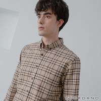 GIORDANO  男裝法蘭絨溫暖磨毛長袖襯衫 - 29 棕/皎白格紋