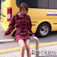 【Lockers 木櫃】慵懶風經典格子長款襯衫/洋裝(紅色)