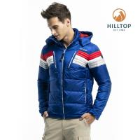 【hilltop山頂鳥】男款超潑水保暖蓄熱羽絨短大衣F22MZ2深寶藍