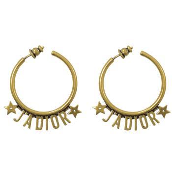Christian Dior JADIOR 字母復古鍍金大圈耳環.金