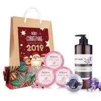 Arenes璀璨蘭鑽聖誕禮袋(蘭洗+櫻花皂x3(裸)+紫羅蘭球(裸)+紅盒+聖誕小提袋)