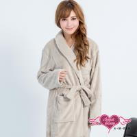 天使霓裳 任選-保暖睡袍 法式甜心 柔軟珊瑚絨一件式綁帶連身睡衣(淺灰F) AB11915
