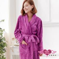 天使霓裳 任選-保暖睡袍 法式甜心 柔軟珊瑚絨一件式綁帶連身睡衣(紫紅F) AB11915