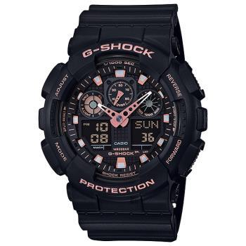 CASIO卡西歐G-SHOCK賽車運動雙顯手錶-玫瑰金x黑GA-100GBX-1A4DR/GA-100GBX-1A4