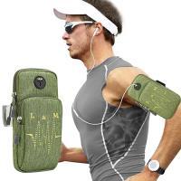 【活力揚邑】防水透氣排汗耳機孔跑步自行車運動手機音樂臂包臂袋臂帶臂套7.2吋以下通用-綠色