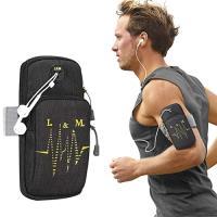 【活力揚邑】防水透氣排汗耳機孔跑步自行車運動手機音樂臂包臂袋臂帶臂套7.2吋以下通用-黑色