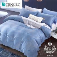 AGAPE亞加貝 獨家私花-篳路藍縷 天絲標準雙人5尺四件式全鋪棉床包兩用被套組(百貨專櫃精品)-行動