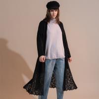 【PANGCHI 龐吉】專櫃精品花邊蕾絲輕柔溫感羊毛長衫(1922020-91/92)