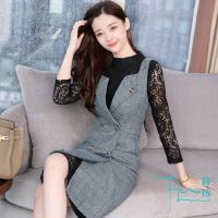 【【Lockers 木櫃】】裙子加外搭 正式場合 氣質套裝連衣裙(正式 兩件套 馬甲 蕾絲)