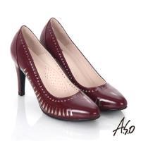 A.S.O 輕透美型 鏡面真皮側鏤空高跟鞋- 酒紅