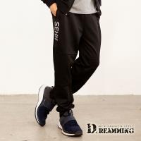 【Dreamming】美式字母抽繩休閒縮口運動長褲(共二色)