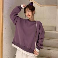 零國界衣店   M-XL 純色假兩件圓領長袖T恤(預購)