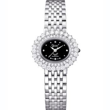 Ogvial 瑞士愛其華-薔薇系列璀璨時尚真鑽腕錶-銀 380-03DLS