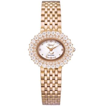 Ogvial 瑞士愛其華-薔薇系列璀璨時尚真鑽腕錶-玫瑰金 380-03DLR