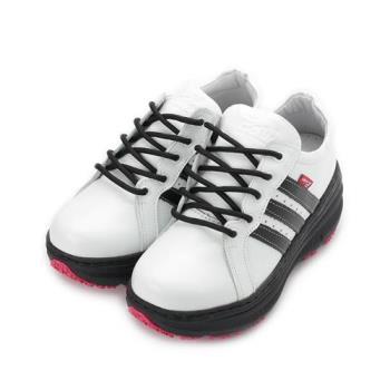 ZOBR 真皮經典厚底休閒鞋 白黑 QB32 女鞋 鞋全家福
