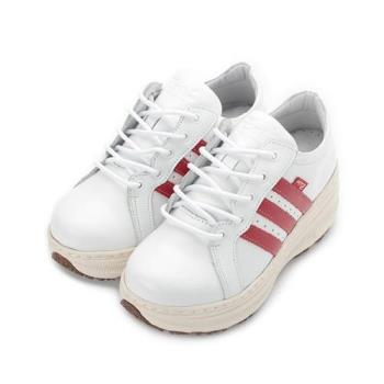 ZOBR 真皮經典厚底休閒鞋 白紅 QB32 女鞋 鞋全家福