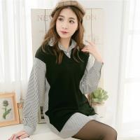 大尺碼-襯衫領直紋拼接微刷毛素色布假兩件長袖上衣(完美黑)lingling