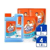威猛先生 地板清潔劑瓶+補6入組(2000mlx2+1800mlx4)-舒活海洋