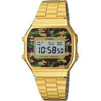 CASIO 卡西歐 Digital 迷彩電子錶-金 A-168WEGC-3DF