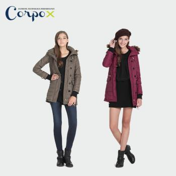 【Corpo X】女款科技羽絨發熱法蘭絨長版外套 (豪華顯瘦款)