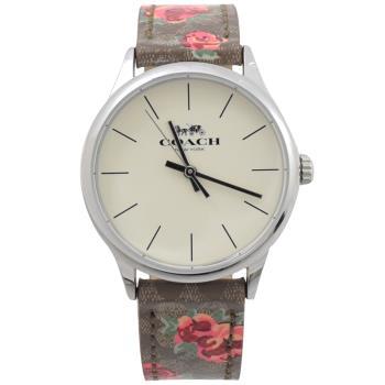 COACH W1546 馬車LOGO印花小花造型錶帶石英腕錶.咖/銀
