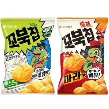 好麗友 烏龜玉米脆片80g x12包-玉米濃湯/麻辣口味