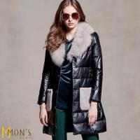 MONS北歐頂級奢華藍狐毛小羊皮羽絨大衣