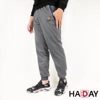 HADAY 男褲長褲 休閒運動棉褲 縮口版 舒適好穿 簡約刺繡 特色褲頭 灰色 四季可穿 男女皆可穿