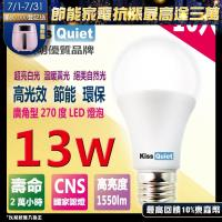 《Kiss Quiet》13W LED燈泡270超廣角(白光/黄光/自然光)全電壓球泡燈-10入
