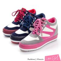 Love Girl 超人氣韓版雙色厚底內增高帆布鞋