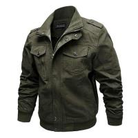 【米蘭精品】軍裝外套立領夾克-寬鬆純棉個性純色男外套3色73wn15