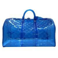 【Louis Vuitton】Monogram壓花 PVC KEEPALL 50 限量旅行袋(M53272-寶藍)