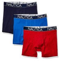 NAUTICA  2020男時尚彈力藍紅四角修飾內著混搭3件組