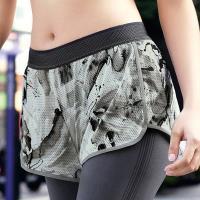 【EASY SHOP】RUN運動 運動型短褲(印花灰)