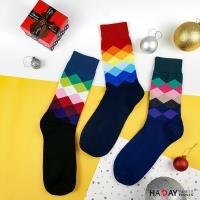 HADAY 男襪 漸層菱形長筒襪  紳士襪 亮眼色系 帥氣一把罩 棉襪 細針觸感佳 一組3色 共3雙入