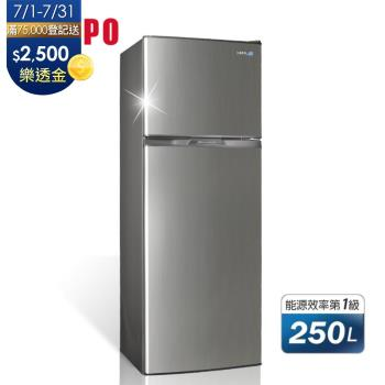 滿額登記送全家商品卡$500★聲寶SAMPO 250L 一級能效 雙門變頻冰箱 SR-A25D(G) 星辰灰