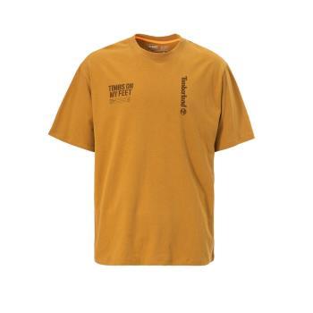 Timberland 男款小麥色字母印花寬鬆短袖圓領T恤A28NNP47