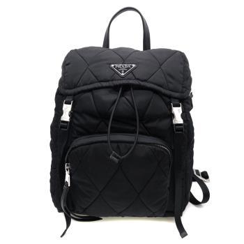 【PRADA】菱格縫線帆布束口後背包(1BZ020-黑)